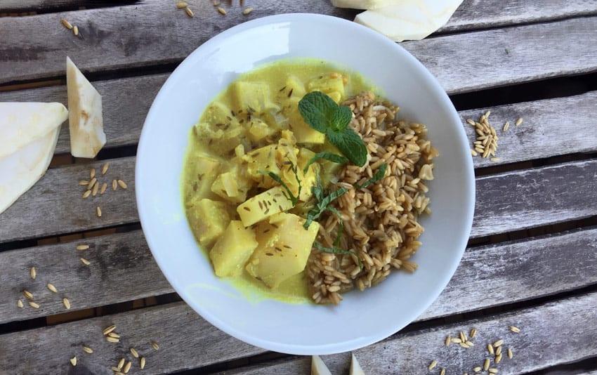 Sellerie-Curry mit Gerste